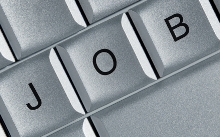 Photo of a silver computer keyboard indicating Job searches online.